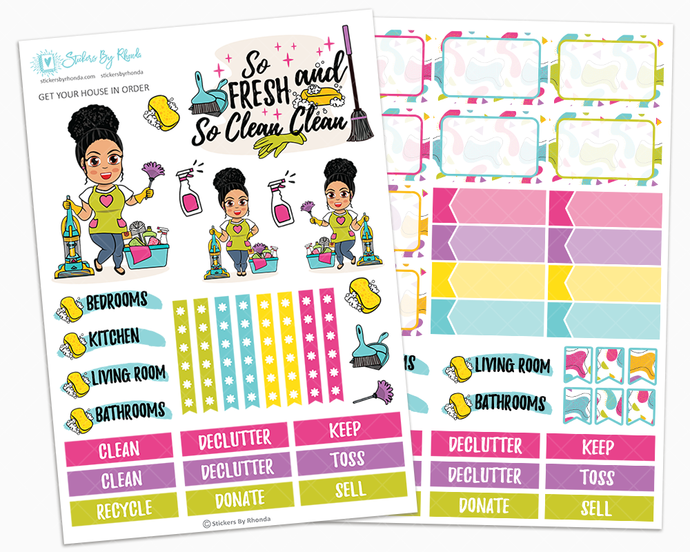 Jennifer With Curly Puff - Get Your House In Order - Two Page Sticker Kit - Cleaning Stickers