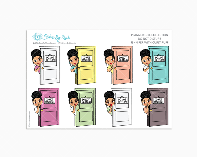 Jennifer With Curly Puff - Do Not Disturb Planner Stickers
