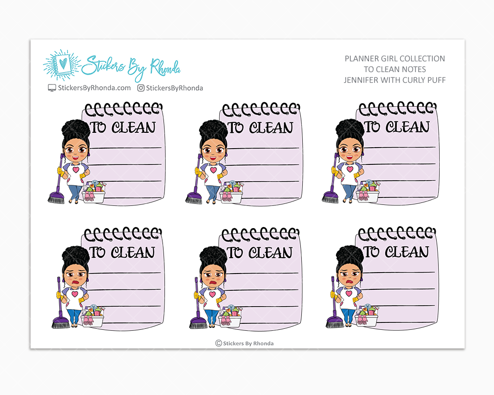 Jennifer With Curly Puff - To Clean Notes - Planner Stickers - Planner Girl Stickers