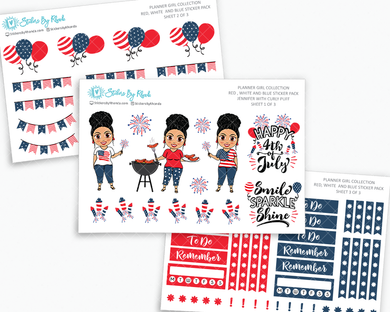 Jennifer With Curly Puff - Red, White & Blue Matte Planner Stickers - Planner Girl Collection - Plan Outside The Box Sticker Pack