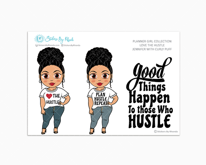 Jennifer With Curly Puff - Love The Hustle - Limited Edition - Planner Girl Stickers