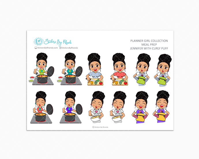 Jennifer With Curly Puff - Meal Prep/Cooking Planner Stickers