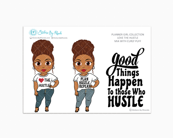 Mia With Curly Puff - Love The Hustle - Limited Edition - Planner Girl Stickers