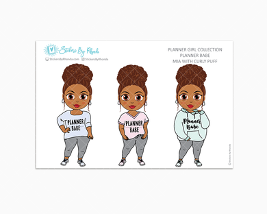 Mia With Curly Puff Limited Edition - Planner Babe Stickers