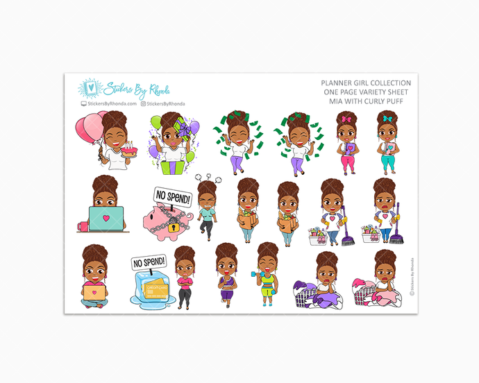 Mia With Curly Puff - Variety Sticker Sheet - Planner Stickers - Planner Girl Collection
