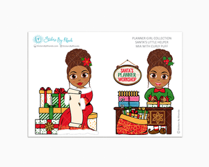 Mia With Curly Puff - Santa's Little Helper - Planner Girl Collection - Limited Edition - Christmas Stickers