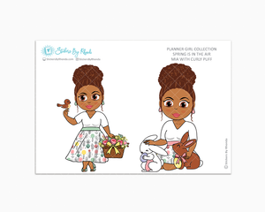 Mia With Curly Puff - Spring Is In The Air - Limited Edition - Planner Girl Collection - Planner Stickers