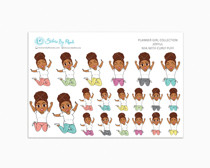Mia With Curly Puff - Joyful Planner Stickers