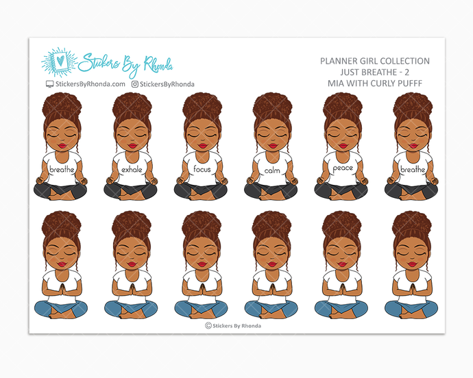 Mia With Curly Puff - Just Breathe 2 - Planner Stickers