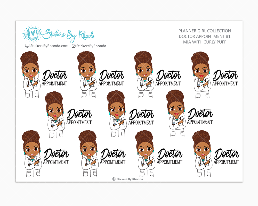 Mia With Curly Puff - Doctor Appointment #1 - Medical Planner Stickers