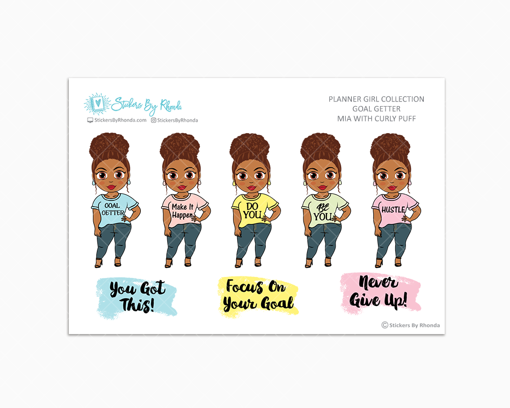 Mia With Curly Puff - Goal Getter - Limited Edition - Planner Girl Stickers