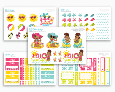 Mia With Curly Puff - Hello Summer Matte Planner Stickers - Planner Girl Collection