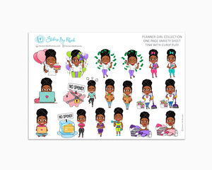 Tina With Curly Puff - Variety Sticker Sheet - Planner Stickers - Planner Girl Collection