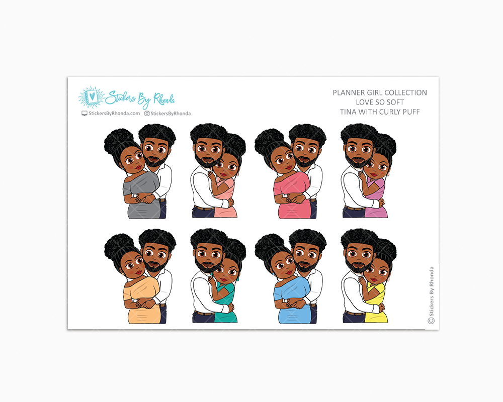 Tina With Curly Puff - Love So Soft - Planner Stickers