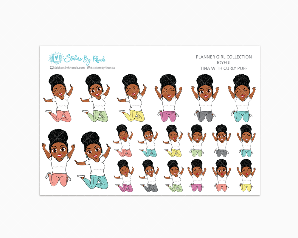 Tina With Curly Puff - Joyful Planner Stickers