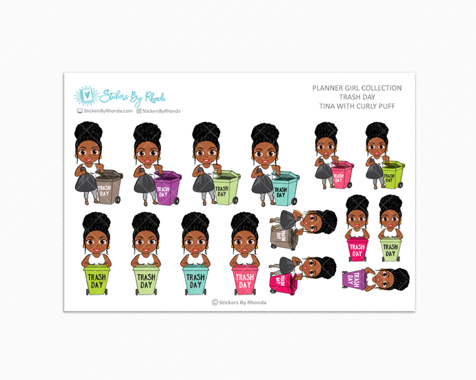 Tina With Curly Puff - Trash Day  - Take Out The Trash - Planner Stickers