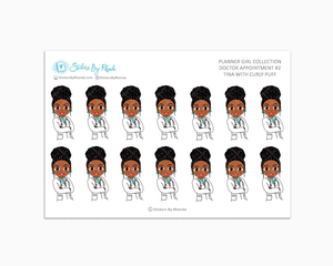 Tina With Curly Puff - Doctor Appointment #2 - Medical Planner Stickers