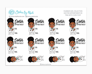 Tina With Curly Puff - Doctor Appointment #3 - Medical Planner Stickers