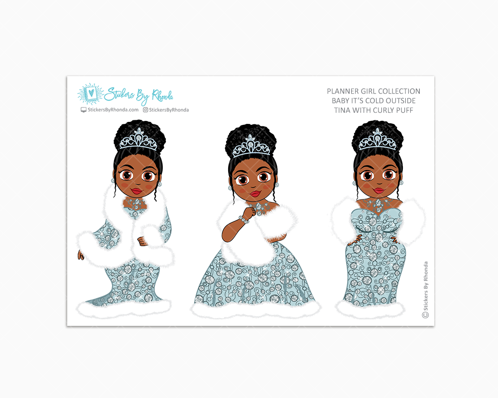 Tina WIth Curly Puff - Limited Edition - Baby It's Cold Outside - Planner Girl Stickers