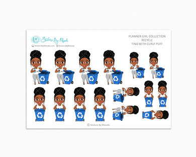 Tina With Curly Puff - Recycle - Planner Stickers