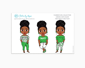 Tina With Curly Puff - Green Is My Color - Limited Edition - Planner Stickers