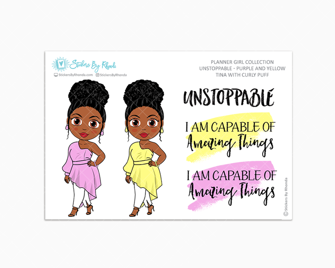 Tina With Curly Puff - Unstoppable - Purple & Yellow - Limited Edition - Quote Stickers - Planner Girl Collection - Planner Stickers
