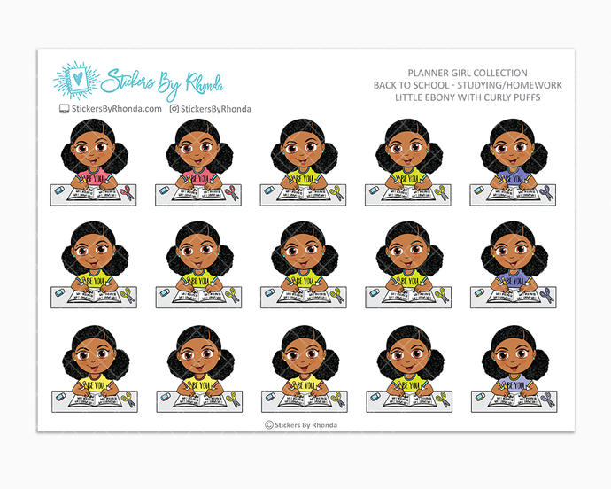 Little Ebony With Curly Puffs - Homework Study  - Back To School Stickers - Girl Stickers