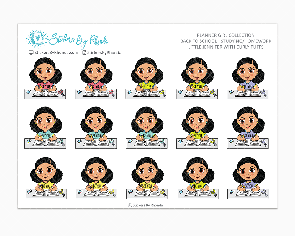 Little Jennifer With Curly Puffs - Homework Study  - Back To School Stickers - Girl Stickers