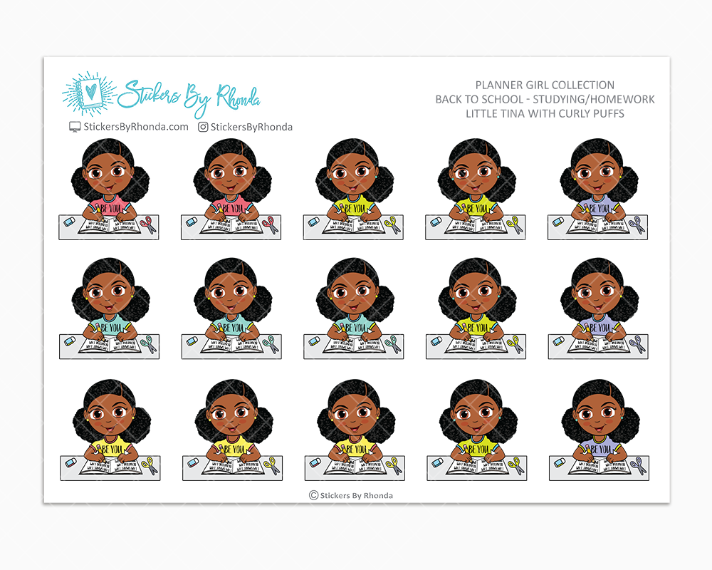 Little Tina With Curly Puffs - Homework Study  - Back To School Stickers - Girl Stickers
