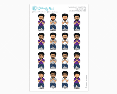 James With Curly Fade - The God In Me - Planner Guy Stickers