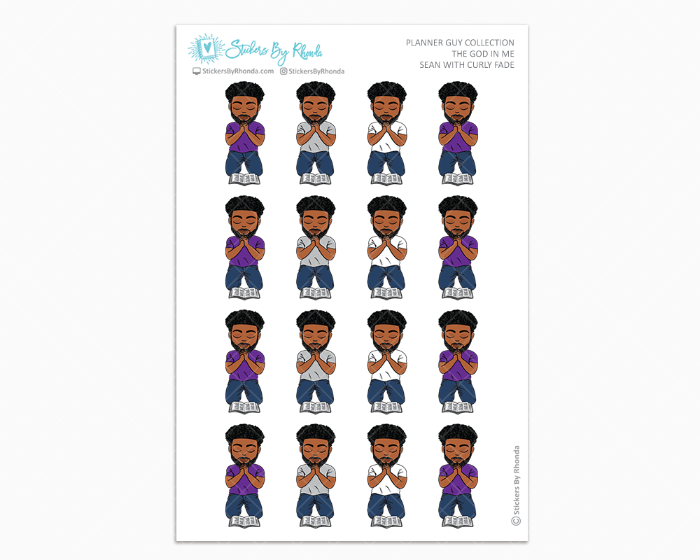 Sean With Curly Fade - The God In Me - Planner Guy Stickers
