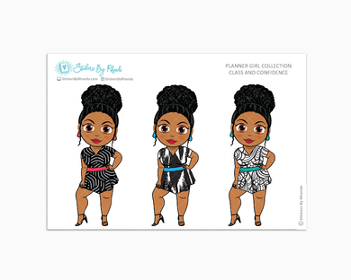 Ebony With Curly Puff - Class & Confidence - Limited Edition - Planner Girl Collection - Planner Stickers