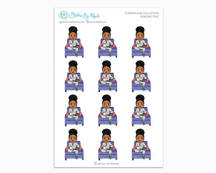 Ebony With Curly Puff - Reading Time - Planner Girl Collection - Planner Stickers