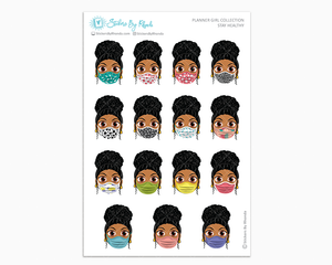 Ebony with Curly Puff -  Stay Healthy - Planner Girl Stickers