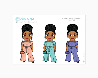 Ebony With Curly Puff -  I Run This - Limited Edition - Planner Girl Collection