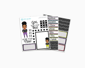 Ebony With Curly Puff - Work Your Plan Petite Kit - Planner Girl Collection