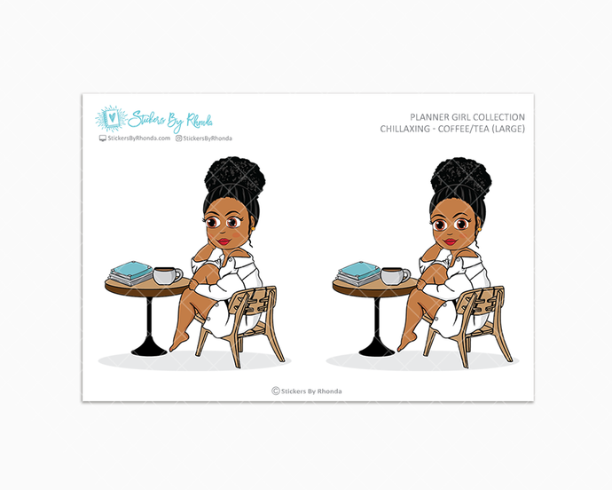 Ebony With Curly Puff - Chillaxing - Coffee/Tea (Large) - Limited Edition - Planner Girl Collection