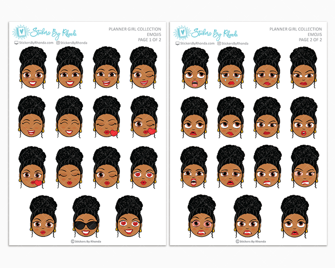 Ebony With Curly Puff - Planner Girl Emojis - Emotion Stickers - Planner Girl Collection