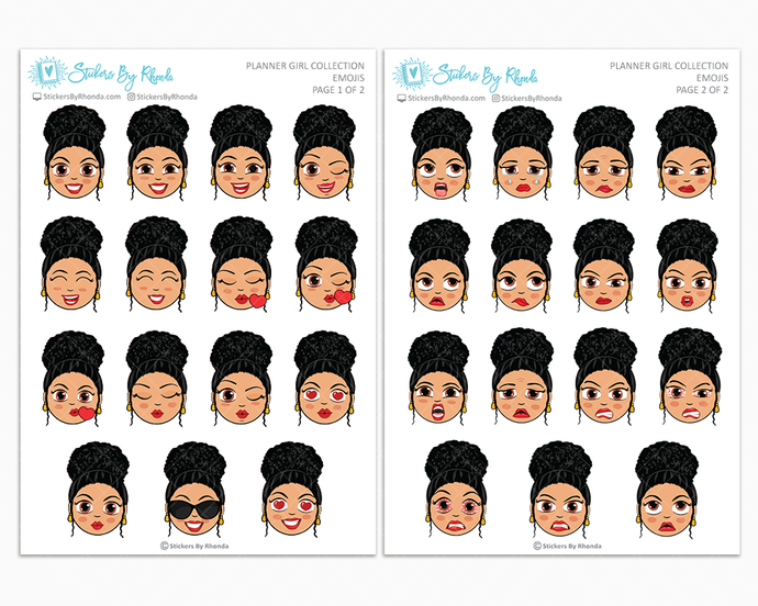 Jennifer With Curly Puff - Planner Girl Emojis - Emotion Stickers - Planner Girl Collection
