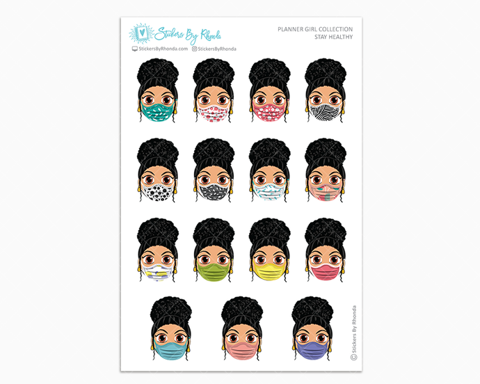 Jennifer with Curly Puff -  Stay Healthy - Planner Girl Stickers