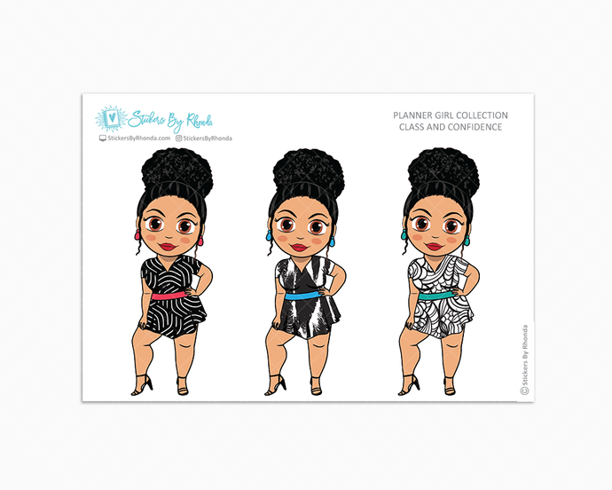 Jennifer With Curly Puff - Class & Confidence - Limited Edition - Planner Girl Collection - Planner Stickers
