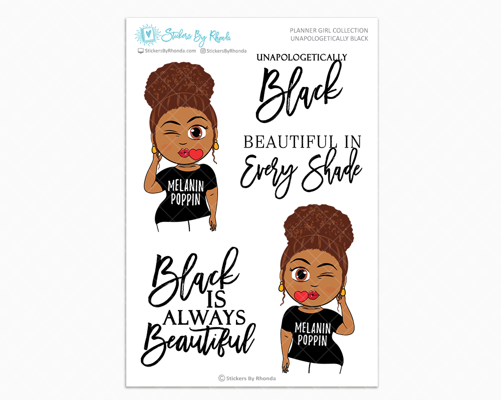 Mia With Curly Puff  - Unapologetically Black- Limited Edition - Planner Girl Collection