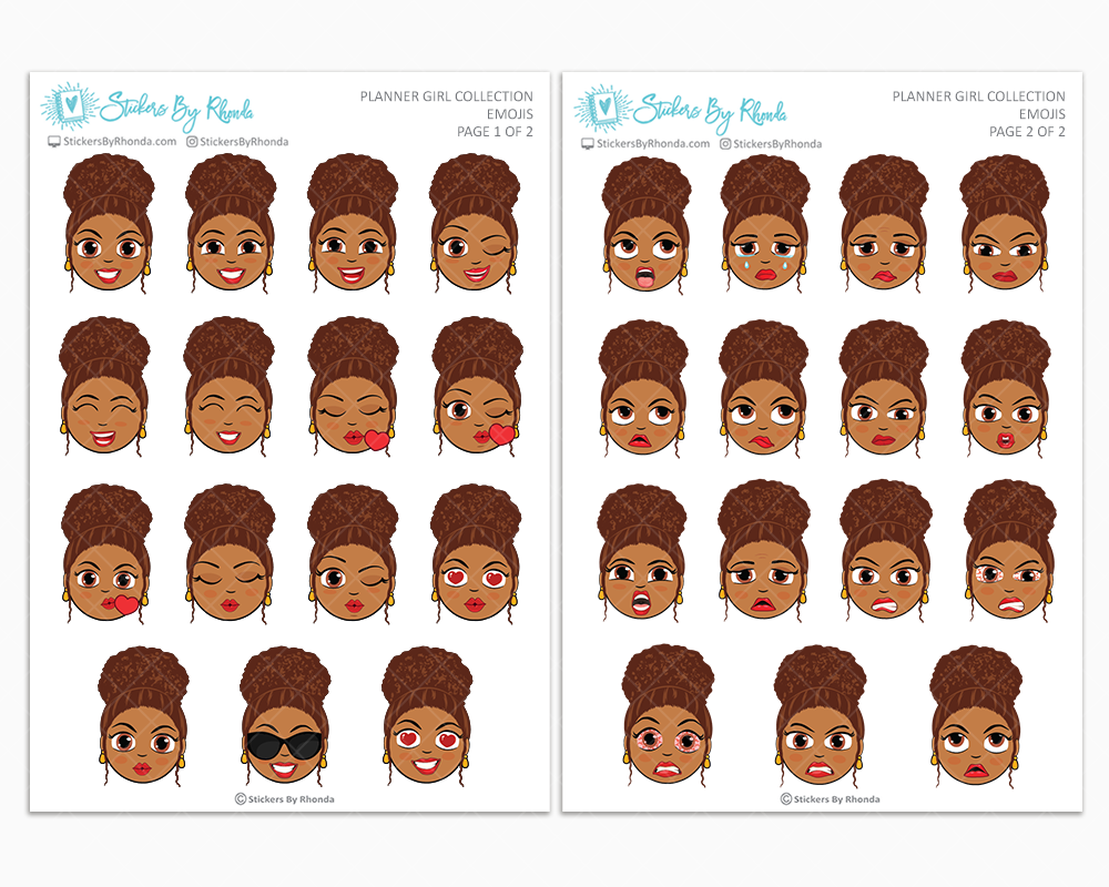 Mia With Curly Puff- Planner Girl Emojis - Emotion Stickers - Planner Girl Collection