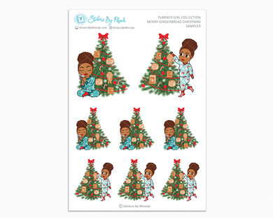Mia With Curly Puff - Merry Gingerbread Christmas Sampler - Christmas Stickers - Holiday Stickers