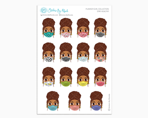 Mia with Curly Puff -  Stay Healthy - Planner Girl Stickers