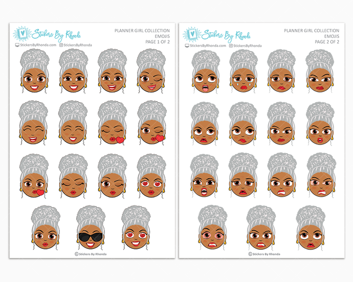 Sylvia With Curly Puff- Planner Girl Emojis - Emotion Stickers - Mature Planner Girl Collection
