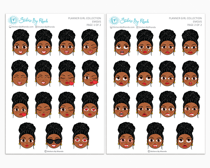 Tina With Curly Puff- Planner Girl Emojis - Emotion Stickers - Planner Girl Collection