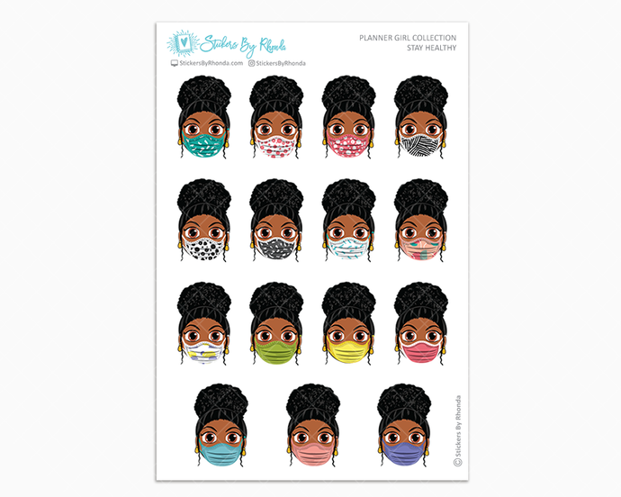 Tina with Curly Puff -  Stay Healthy - Planner Girl Stickers
