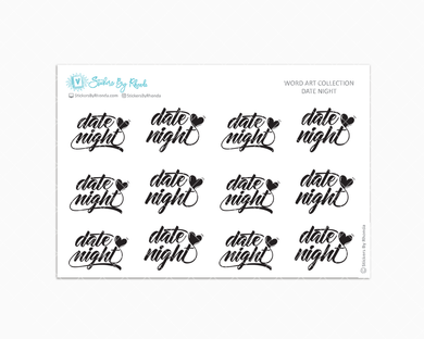 Date Night -  Relationship Planner Stickers - Word Art Collection