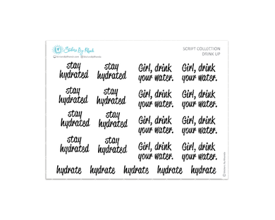 Drink Up - Stay Hydrated Planner Stickers - Script Collection